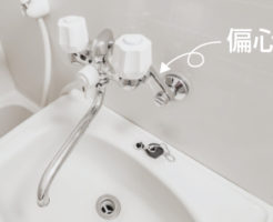 偏心管と蛇口本体からの間の水漏れはパッキンの劣化が原因